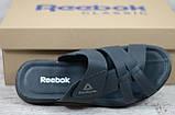 Мужские кожаные летние шлепанцы Reebok, черные, фото 4