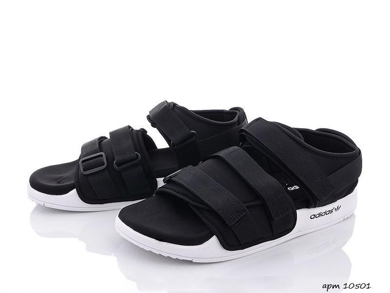 Мужские кожаные летние сандалии Adidas Adilette Sandals, черно белые