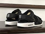 Мужские кожаные летние сандалии Adidas Adilette Sandals, черно белые, фото 2