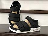 Мужские кожаные летние сандалии Adidas Adilette Sandals, черно белые, фото 3