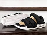 Мужские кожаные летние сандалии Adidas Adilette Sandals, черно белые, фото 4