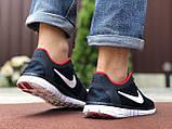 Чоловічі літні, легкі кросівки Nike Free Run 3.0 сітка, сині з білим, фото 2
