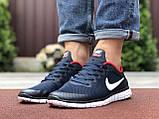 Чоловічі літні, легкі кросівки Nike Free Run 3.0 сітка, сині з білим, фото 4