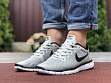 Чоловічі літні, легкі кросівки Nike Free Run 3.0 сітка, сірі, фото 2
