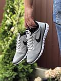 Чоловічі літні, легкі кросівки Nike Free Run 3.0 сітка, сірі, фото 3