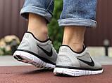 Чоловічі літні, легкі кросівки Nike Free Run 3.0 сітка, сірі, фото 4