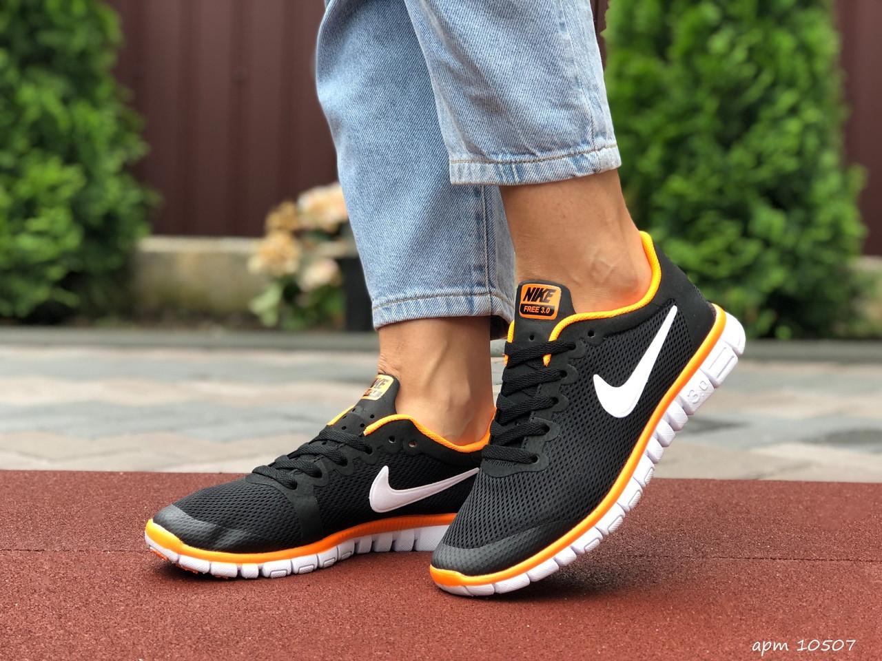 Женские летние, легкие кроссовки Nike Free Run 3.0 черные