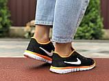 Женские летние, легкие кроссовки Nike Free Run 3.0 черные, фото 2