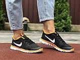 Женские летние, легкие кроссовки Nike Free Run 3.0 черные, фото 4