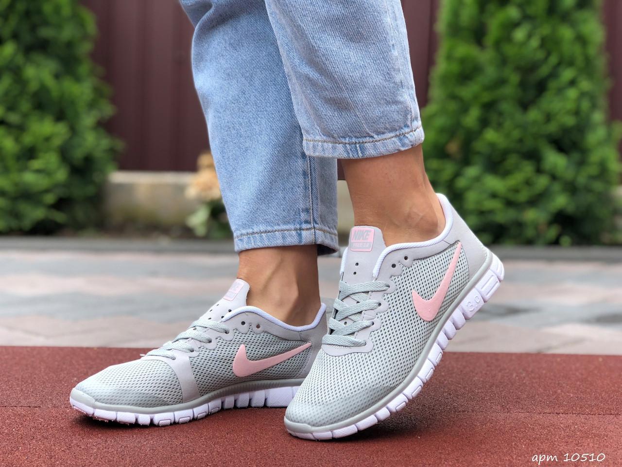 Женские летние, легкие кроссовки Nike Free Run 3.0 серые