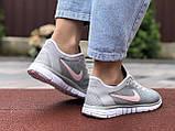 Жіночі літні, легкі кросівки Nike Free Run 3.0 сірі, фото 4