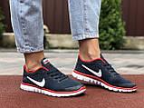 Женские летние, легкие кроссовки Nike Free Run 3.0 темно синие, фото 4