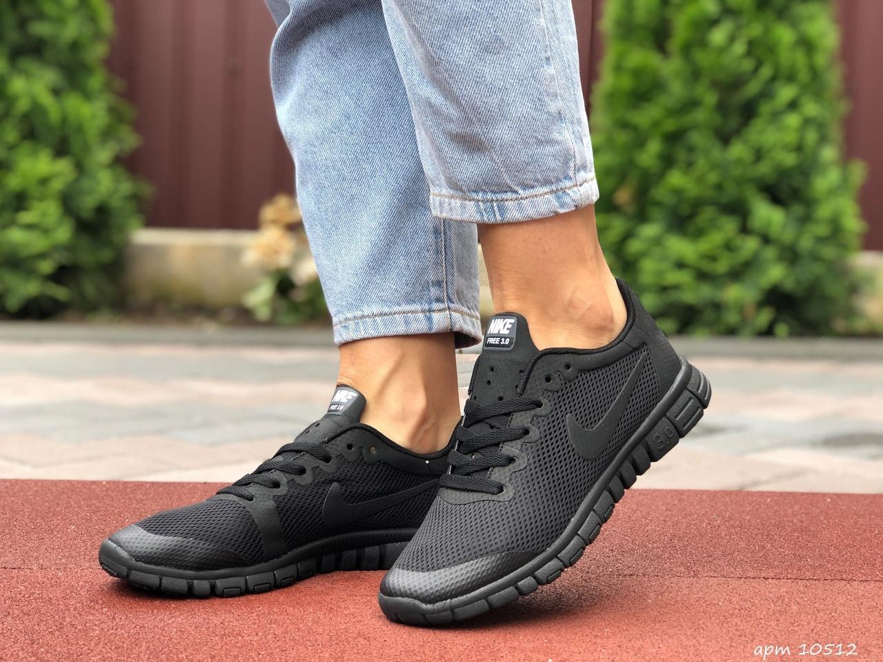 Женские летние, легкие кроссовки Nike Free Run 3.0 чёрные