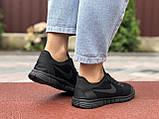 Женские летние, легкие кроссовки Nike Free Run 3.0 чёрные, фото 2