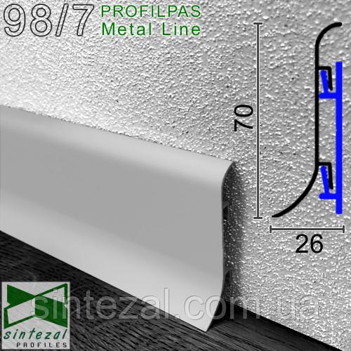 Алюмінієвий плінтус Profilpas Metal Line 98/7SF, Срібло, 70х26х2000мм.