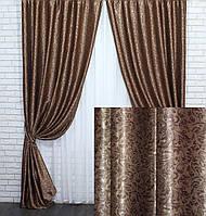Шторы (2шт. 1.5х2.8м.) из ткани блэкаут-софт. Цвет коричневый. Код 709ш 30-492, фото 1