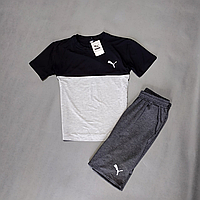 Летний спортивный комплект футболка + шорты Puma | Турция | стрейч кулир + двухнитка, фото 1