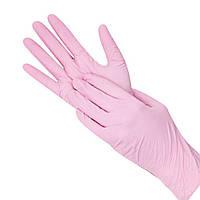 Рукавички ніжно-рожеві Нитриловые100 шт Розмір XS + в Подарунок гель антисептик 200мл