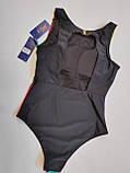 Молодёжный цельный купальник авангард размеры 38 евро цвет коричневый, фото 3