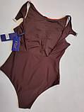 Молодёжный цельный купальник авангард размеры 38 евро цвет коричневый, фото 2