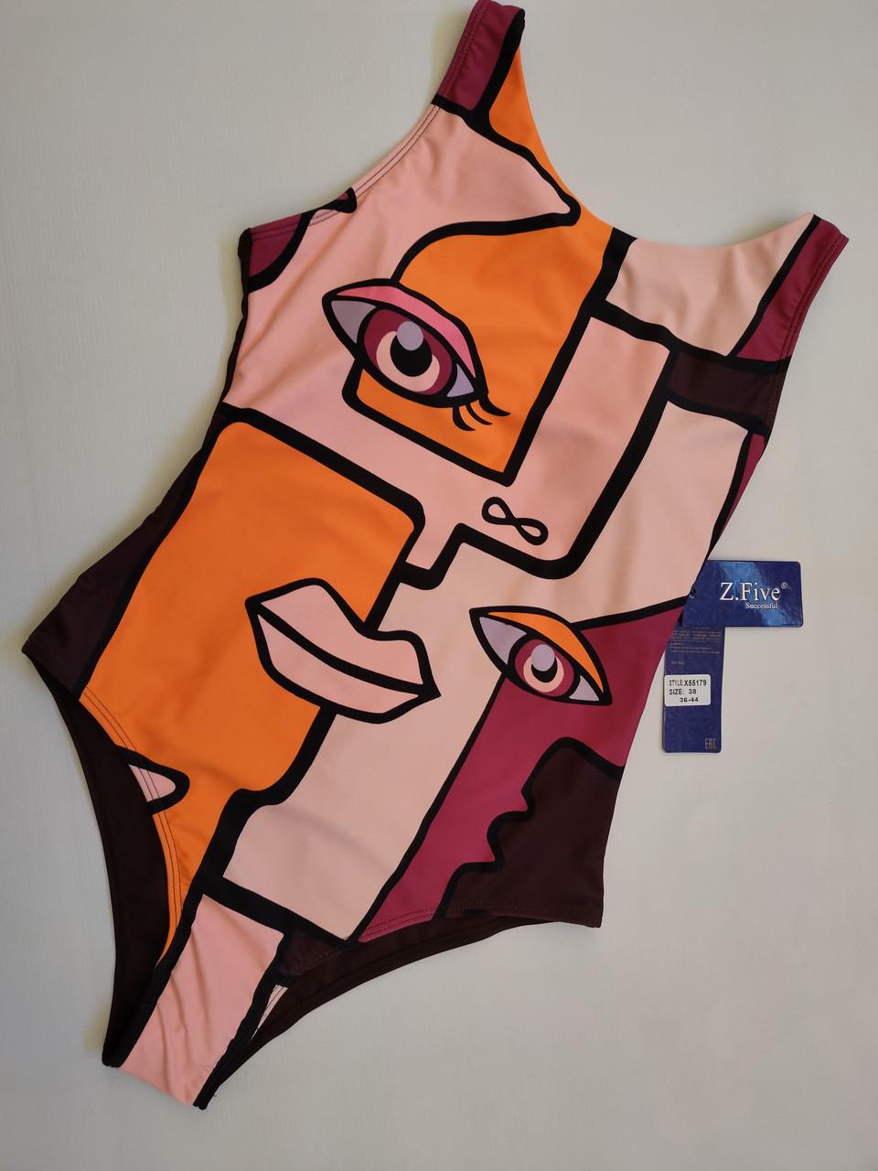 Молодёжный цельный купальник авангард размеры 38 евро цвет коричневый