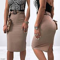 Юбка женская облегающая за колено карандаш с высокой посадкой в деловом стиле р-ры 42,44,46 арт 700