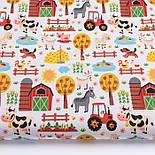 """Лоскут ткани """"Мини-ферма"""" на белом фоне, №3290а, размер 31*80 см, фото 2"""