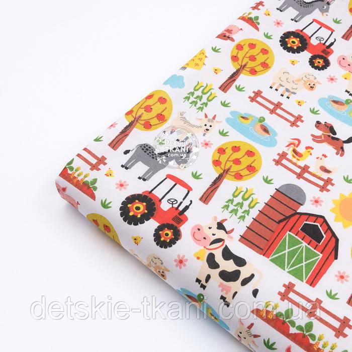 """Лоскут ткани """"Мини-ферма"""" на белом фоне, №3290а, размер 31*80 см"""