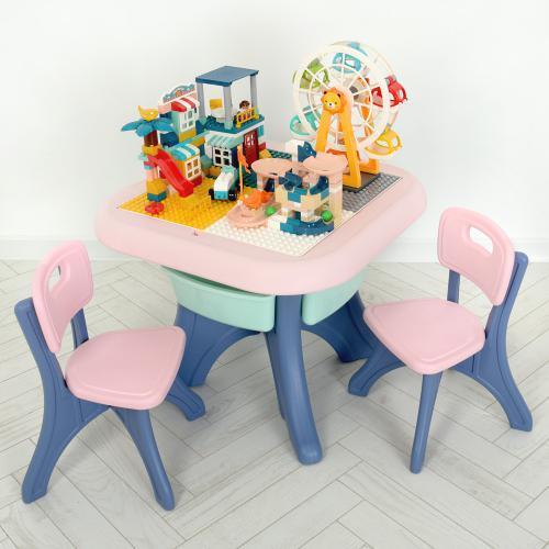 Столик з двома стільцями WM19102-8 пластиковий, рожевий