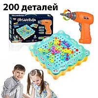 Детский развивающий конструктор мозаика Diy Light Puzzle 200 деталей с дрелью шуруповертом и отверткой