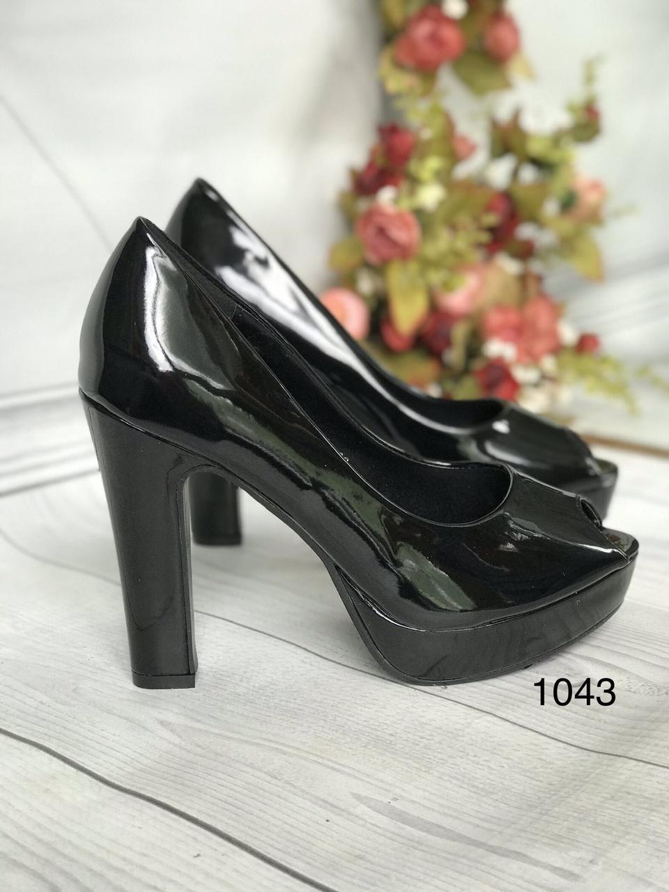 Туфлі жіночі класичні чорні ,каблук і платформа