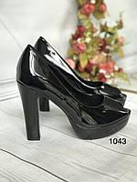 Туфлі жіночі класичні чорні ,каблук і платформа, фото 1