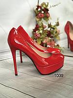 Туфлі жіночі класичні червоні,високий каблук,платформа, фото 1