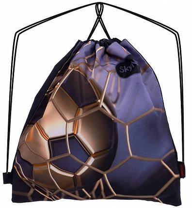 Сумка-рюкзак для взуття на шнурках для хлопчика з малюнком Футбол М'яч SkyName М-100, фото 2