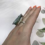 Агат 18,5 р. агатовая жеода кольцо с камнем жеода агата в серебре Индия, фото 4