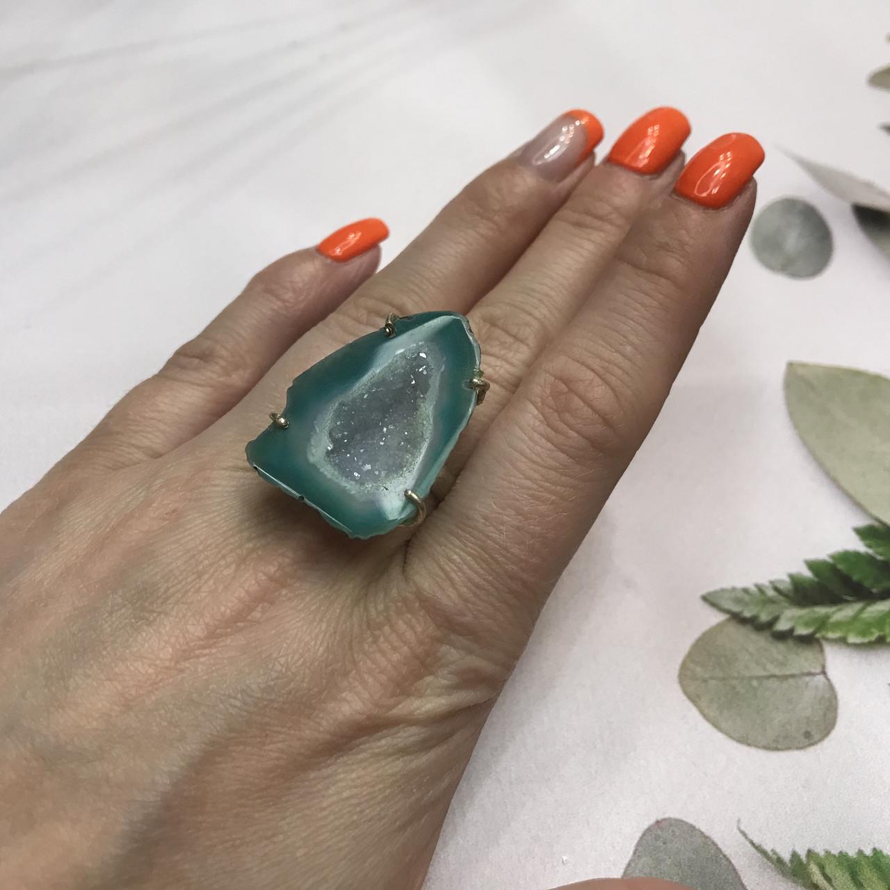 Агат 18,5 р. агатовая жеода кольцо с камнем жеода агата в серебре Индия