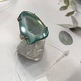 Агат 18,5 р. агатовая жеода кольцо с камнем жеода агата в серебре Индия, фото 7