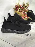 Жіночі класичні текстильні кросівки чорні, фото 1