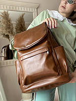 Рюкзак жіночий великий з клапаном коричневий
