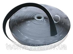 Контактная лента с клеевым слоем, лента липучка контактная чёрная ширина 25 мм