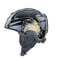 Шлем горнолыжный с механизмом регулировки MOON (ABS, p-p S-53-55, черно-золотой)