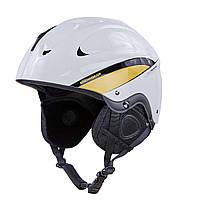 Шлем горнолыжный с механизмом регулировки MOON (ABS, p-p L-58-61, бело-золотой)