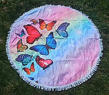 Пляжное покрывало | Пляжный плед | Пляжный коврик   | Пляжное круглое полотенце. Бабочки