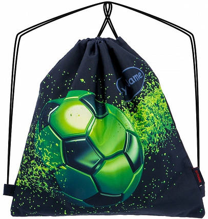 Ркзак мешок для сменной обуви на шнурках для мальчика с рисунком Футбол Мяч Зеленый SkyName М-90, фото 2