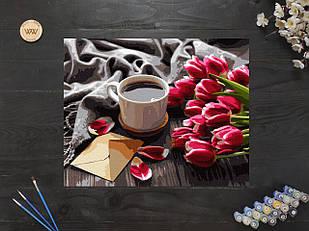 "Картина по номерам ""Тюльпаны и кофе"" 40х50 см"