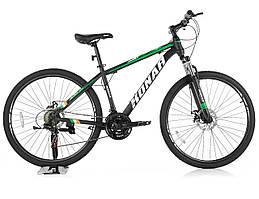 """Велосипед KONAR KA-27.5""""17, стальная рама 17, колеса 26 дюймов, черно-зеленый"""