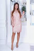 Праздничное нежное коктейльное платье с ажурным рукавом и спинкой р.42-46. Арт-4963/34, фото 1