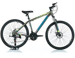 """Велосипед KONAR KA-27.5""""17, стальная рама 17, колеса 26 дюймов, серо-желтый"""