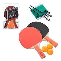 Теннис настольный 2 ракетки, дерево 7 мм, 5 слоев, ЕВА+резина 1,5 мм. 3 теннисных шарика, сетка 100*9 см