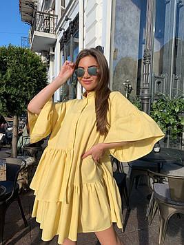 Крутейшее  стильное яркое желтый платье в стиле оверсайз из льна